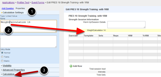 "Click on the ""Linked Value"" field  in the Add Question section of the builder. Name the Field. In this example we are pulling weight (from an anthropometry form) into a Strength Training Form"