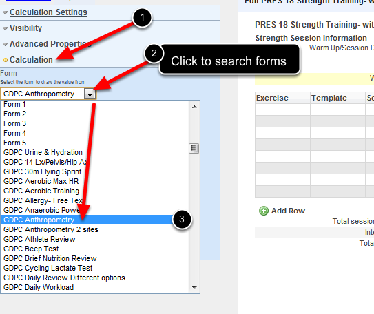 In the Calculation section of the Linked Field you need to select the Event Form (shown here) and Field (shown in the following step) that you are linking from