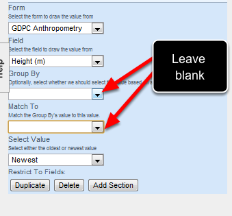 Group By and Match To are only needed when you have fields that are grouped using the Group By property. Most fields do not have this enabled so leave these settings blank