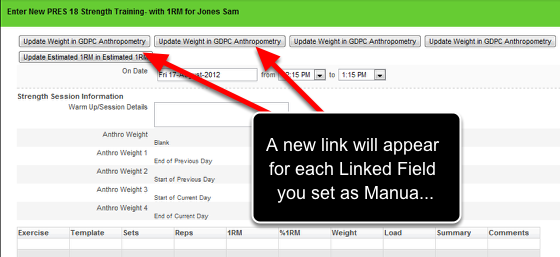 "If the Linked Field is set as Manual Update ""True"" then a link will appear at the top of the Event you are linking to. You can click on these links to update the field you are linking from. E.g click to update the weight field in the Anthropometry Event Form"