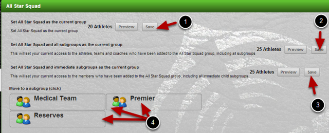 Select to load the entire group and all subgroups, no subgroups, or just one subgroup of athletes