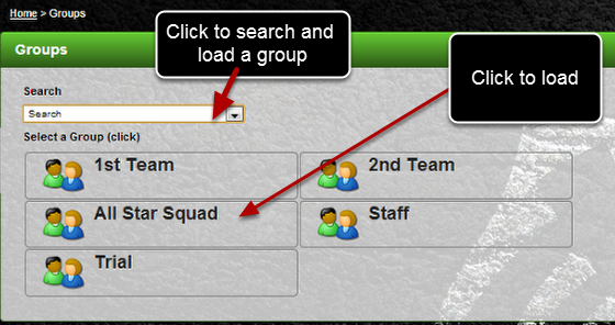 You can view and load any of the groups and subgroups that you have access to. Use the Search Bar, or just click on a Group Name