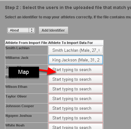 Map the usernames across and click Next (at the bottom of the page) once you have completed all of the names