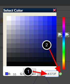 Or, type in the # code into the text field (1) and click the green tick (2)
