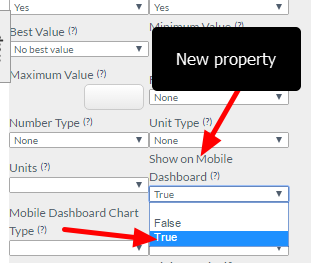 "Fields from within an Event Form can also be charted on a per Event Form Basis in the Dashboards Module. There is a new advanced field property for numeric and option type fields called ""Show on Mobile Dashboard"""
