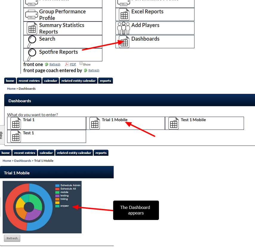 Currently, if a user has access to the Dashboard Module, the Dashboard's Module appear on the Home Page, and then the user clicks through and selects which dashboard they want to view