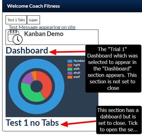 On the Front Page report, when the custom page layout appears, the dashboard will immediately appear for the users to view (if the section is not set to be closed).