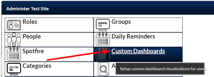 Now, for any Dashboards that are set as Front Page Enabled, these can be built directly into a Custom Page Layout. To enable a Dashboard , go to Admin site to the Custom Dashboards Module.