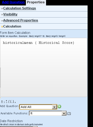In the equation text area write in the function before the field that you are generating a historical average for e.g. historicalmean (Historical fieldname)
