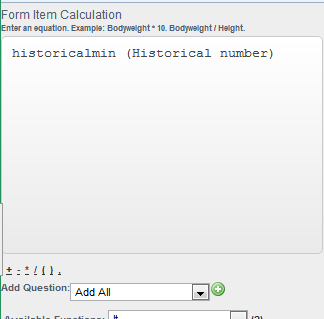 To generate the historical minimum, use the Historicalmin before the Historical Field name
