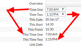 On the main application the selected time is returned