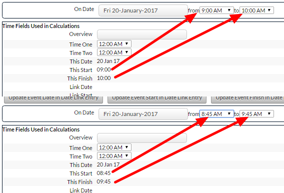 On the main application, these values will change depending on the selected time