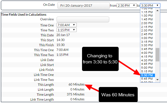 When these times are changed, the calculation updates accordingly