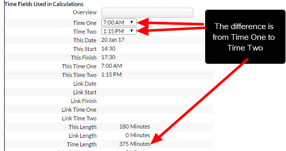 On the main application the time difference automatically calculates based on the difference between the Time fields
