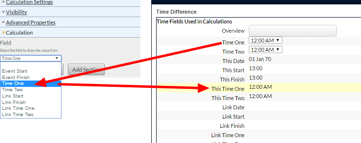 Any Time field add to an Event Form can be referenced in the Time Calculation
