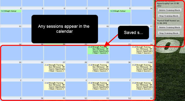 The Calendar Module also shows any training blocks that have been applied for a single athlete. The list appears on the right of the page. Any sessions appear scheduled in the Calendar