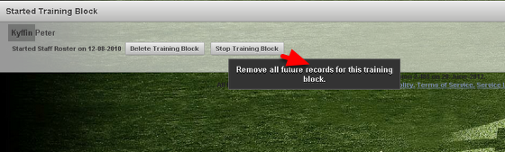 """If you click on the """"Stop Training Block"""", the training block will be removed from the athlete's list and all future planned sessions will be deleted."""