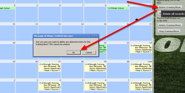 To Delete a Training Block from the Training Block List on the Calendar