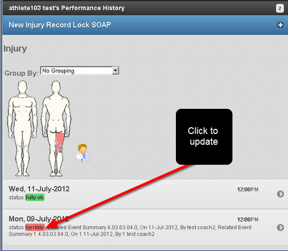 All of the records for the Event Form and the Athlete will be displayed. The example here shows that the older injury is marked as red, this is the one you would click on to open.