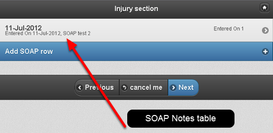 To get to the appropriate field in the Form, or to get to your SOAP notes table*, you will need to click Next to move through the Form's sections.