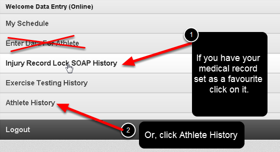 On the iPad/iPhone system you cannot access the Sidebar or the Front Page Reports. To update an existing Injury/Illness go directly to the Athlete History page for the athlete you are seeing. DO NOT CLICK ON ENTER DATA FOR ATHLETE