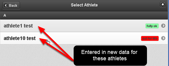 Each time you load the Athlete History Page for an Athlete, or each time you enter in new Data for an athlete, the athlete you select is added to the Recent Athletes List