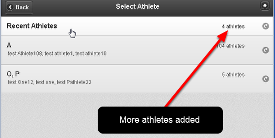 Then if you go to enter in new data or view the athlete History this athlete, and any other athletes you viewed, are added to the Recent Athlete list (as shown in the image below)