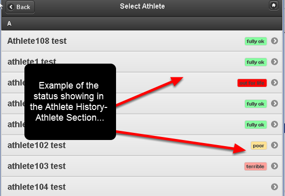 "Event Forms like Medical Records and Injury Records can have fields that generate the ""status"" of an athlete. The example here shows the Athlete History selection page with the status of the athlete"