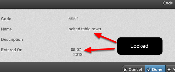Once a Table Row is locked it cannot be edited on the iPad/iPhone version
