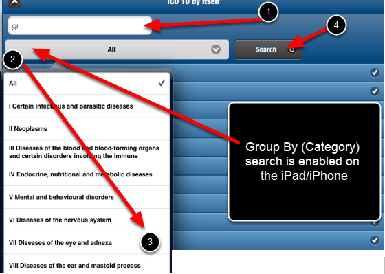 "Additionally, if a Database is set to ""Group By"", these searches are now working on the Mobile applications"