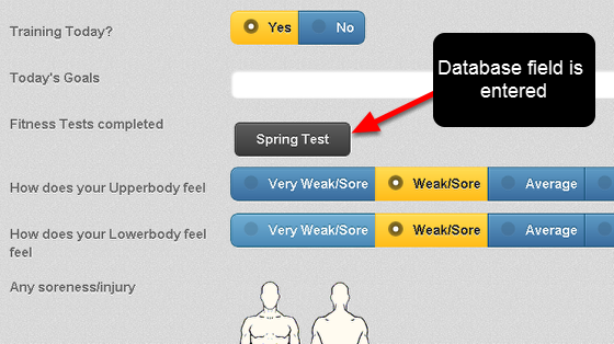 The Database option will appear in the Event Form on the Mobile App