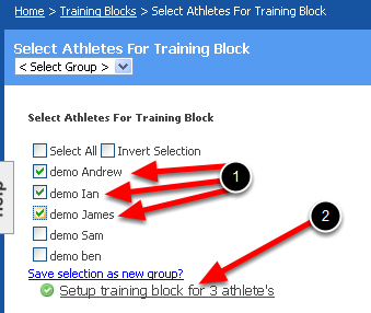 Select a Group of Athletes or a Single Athlete that you want the Block to be applied to