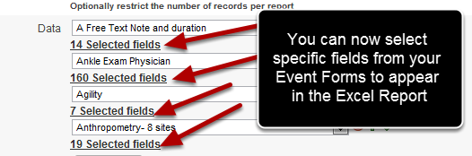Now you can select the specific Fields from an Event Form that you want to include in the Excel Report. It is CRITICAL that you choose all of the Event Forms first before you start de/selecting fields