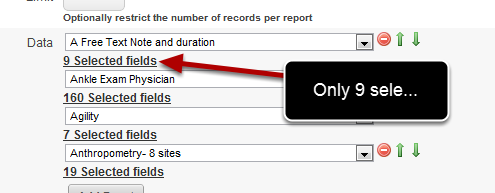 You can see that for the Free text note and duration Event Form, only 9 of the possible 14 fields have been selected