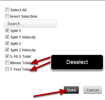 Select or deselect the fields that you want to include
