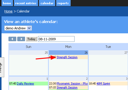 Any new saved entries are now available on the athlete's calendar