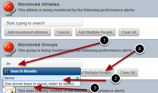 Choose to monitor an entire Group of Athletes