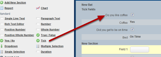 Tick Box Fields are single selection fields that are displayed as a tick