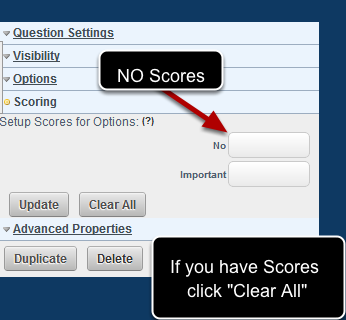 If you are using the tick box to denote importance, you CANNOT have scores for the options or the summary field will not work. Leave blank, or click Clear All if you have scores