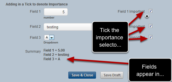 Tick the importance fields and double check that your fields pull through into the summary fields when ONLY when they are ticked
