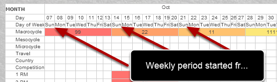 The Yearly Plan weeks were always set to run from Sunday to a Monday