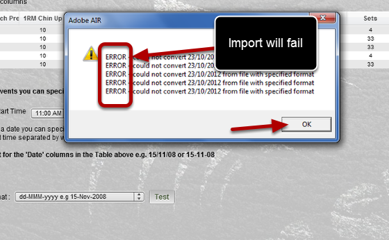 "If the message says ""ERROR - Could not convert"" then you MUST select a different date format or your data won't import"