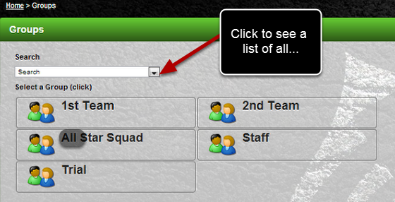 A new Search drop down has been added to the Groups Page