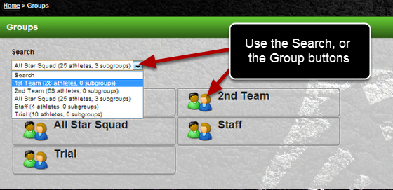 Each time you go back to the Groups page, you can use the Search Dropdown or the Groups button to select your group