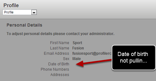 The Date of Birth account details were not linking through into the Profile Pages.