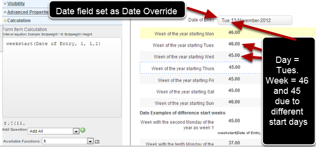 To convert a date into a week of the year you need to have a Date field in the form, and then you add in a Text Calculation