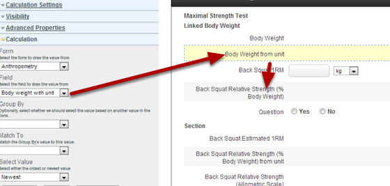 Set up a Linked Value using the field with a unit. This can now be used in subsequent calculations (e.g. in the Back Squat % Body Weight calculation)