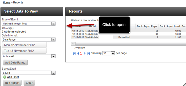After you save a Group Entry you are automatically taken to the Reports Page. You can click on one of the records to open the record in Group entry again
