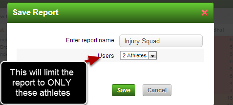 Lastly, if you select 2 Athletes out of a Squad and you ONLY want to save the Report for these players, ensure you select the 2 Athletes option