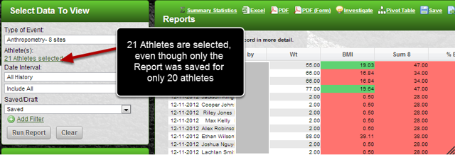 When Include All is selected any new athletes added to the group are automatically included in the Report.